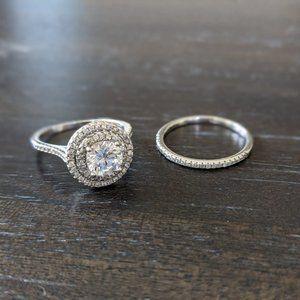 JTV Rhodium Bella Luce Diamond Simulant Ring